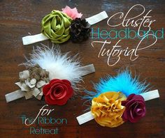 Cluster Headband Tutorial - The Ribbon Retreat Blog -- site has store which sells the flowers