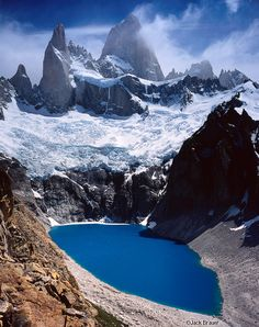 Los Glaciares National Park, Argentina ~  Chaltén (aka Monte Fitz Roy) and Cerro Poincenot tower almost 8,000 feet above Laguna Sucia. Photo: Jack Brauer.