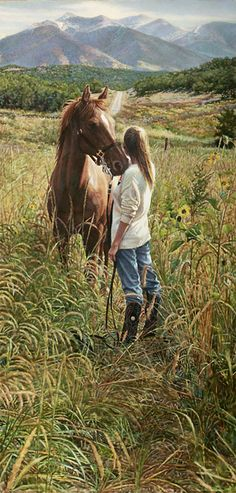"""Field of Dreams - Steve Hanks  """"This painting is about hopes and dreams that are shared and communicated in silence. Art can do that, too,"""" says Hanks. This spectacular landscape of a young woman's dreams will inspire everyone who sees it and warm any room in your home."""