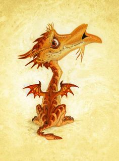 By Paul Kidby from Discworld -  Dwarf Dragons Friendlier than their full sized counterparts, Dwarf Dragons roam the far south and on the western shores. They often have gold and brown coloring, tiny wings and are vegetarians. They cannot fly, but have sharp claws and two sets of equally sharp fangs!