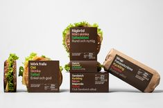 BVD's new packaging for 7-eleven's sandwiches and wraps uses typography to quickly communicate the different fillings. PD