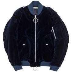 Dark blue velvet bomber jacket with oversized silver metallic two-way zipper closure.  #off-white #stormcopenhagen