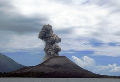 "Anak Krakatau, ""Child of Krakatoa,"" showing activity in 2008. In 1927, this emerged out of the caldera formed by the 1883 eruption of Krakatoa."