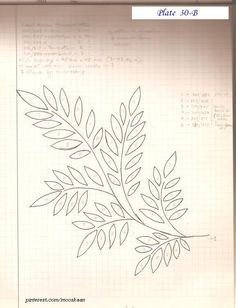 Leaflet embroidery pattern. This is the actual size of each leaf/frond in the Circle of Leaves pattern : http://pinterest.com/pin/431501208018166076/ .... Plate #30-B