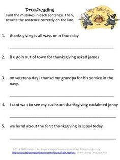 Thanksgiving Activities: Celebrate Thanksgiving and practice Language Arts and Grammar with these Thanksgiving Language Arts worksheets and Activities!