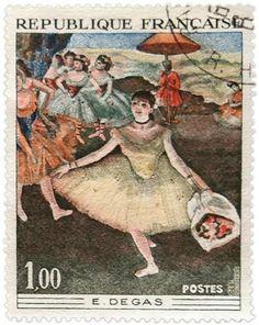 Vintage French Ephemera Degas Postage Stamp - Click for printable artwork