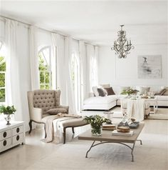 Zsazsa Bellagio Glamorous Home All White Living Room Anyclean Cream Interiors