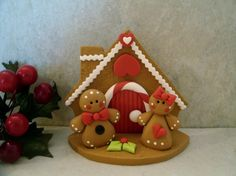 Gingerbread House and Gingerbread Couple por countrycupboardclay