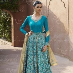 Light Sky Blue Bhagalpuri Stylish Salwar Kameez