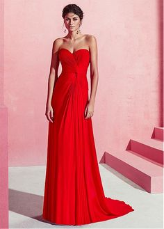 2396614bf  163.99  Junoesque Chiffon Sweetheart Neckline A-line Prom Dress With Pleats