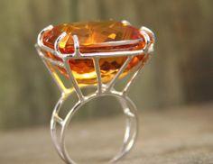 Avant Garde Statement Ring, Rock Star Sterling Silver Ring, Citrine Gemstone