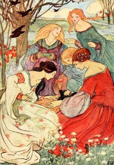 Vintage Illustrations Poems by Christina Rossetti' illustrated by Florence Harrison. Published 1910 by Blackie Art And Illustration, Vintage Illustrations, Vintage Fairies, Vintage Art, Vintage Games, Colorful Drawings, Art Drawings, Christina Rossetti, Classic Fairy Tales