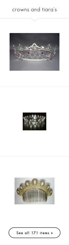 """crowns and tiara's"" by thesassystewart on Polyvore featuring accessories, hair accessories, flower hair accessories, crown hair accessories, celtic hair accessories, bridal flower hair accessories, flower crown, crown tiara, bride hair accessories and bridal hair accessories"