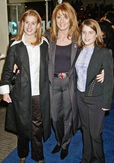 Sarah, Duchess of York and her daughters Princess Beatrice and Princess Eugenie.