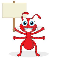 cartoon ant: cute little red ant with wood sign