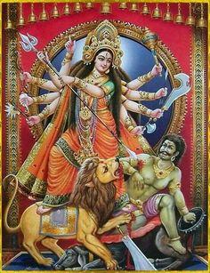 Goddess Durga - Hindu Posters (Reprint on Paper - Unframed) Shiva Hindu, Shiva Shakti, Hindu Deities, Krishna Art, Hindu Art, Ganesha Art, Radhe Krishna, Durga Ji, Saraswati Goddess