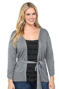$48.50 Grey Cardigan And Black Polka Dot Ruffle Twofer Top | The All In One Top