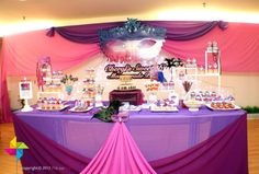 Backdrop & cake / dessert table for a Sweet 16 Masquerade Theme Birthday Party. Design & setup by ParteeBoo - The Party Designers