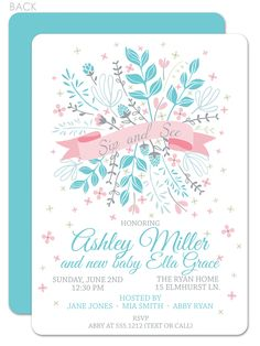Invites for sip and see! So pretty. http://www.swankypress.com/content/floral-ribbon-sip-and-see-invitation