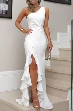One Shoulder Twisted Ruffles Slit Hem Dress, Shop plus-sized prom dresses for curvy figures and plus-size party dresses. Ball gowns for prom in plus sizes and short plus-sized prom dresses for Trendy Dresses, Elegant Dresses, Beautiful Dresses, Fashion Dresses, Tight Dresses, White Formal Dresses, Classic Dresses, Fashion Clothes, Fashion Boots