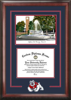 Cal State Fresno Spirit Graduate Frame with Campus Image