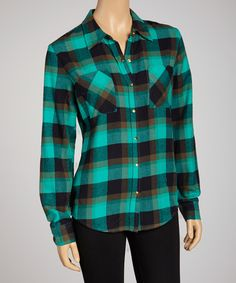 Take a look at this Green Flannel Button-Up on zulily today!