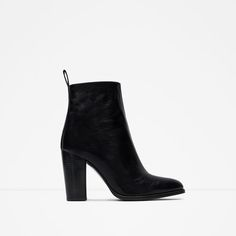 ZARA - WOMAN - HIGH HEEL LEATHER ANKLE BOOTS WITH PULL TAB