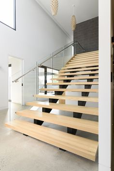 Stairs | Staircase | Architecture | Polished Concrete | Glass Balustrade | American Oak | Feature Wall | Interior Design | Stainless Steel