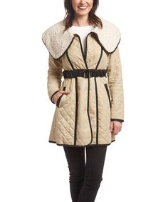 This Beige Faux Shearling Quilted Trench Coat is perfect! #zulilyfinds