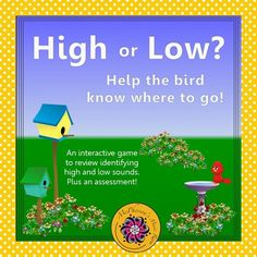 Are you working on High and Low? Your music students will LOVE watching the bird fly across the page when they select the correct answer in this interactive music game! They will be begging to play it again! Great assessment tool!