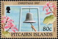 Stamp: Bauhinia variegata and ringing public bell. Mutiny On The Bounty, Pitcairn Islands, Christmas Bells, Commonwealth, Postage Stamps, Decorative Bells, Public, British, Collection