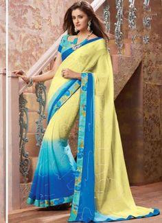 Amazing MultiColor Diamond Work Chiffon Designer Printed Sarees  http://www.angelnx.com/Bollywood