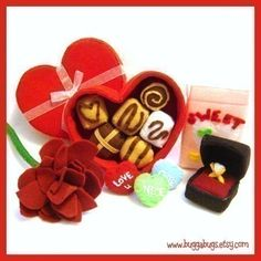 Be MY VALENTINE - PDF Felt Food Pattern (Chocolate Box, Chocolates, Candy Hearts, Rose, Ring Box, Ring). $6.00, via Etsy.