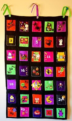 DIY NO SEW Halloween Advent using tacky glue and stickers. both felt and regular. watch the video too