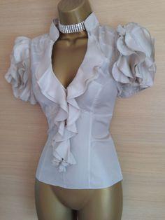 Exquisite Karen Millen Champagne Silk Ruffle Sleeve Bodycon Shirt Blouse UK 14   eBay Blouse Back Neck Designs, Blouse Designs, Karen Millen, New Outfits, Stylish Outfits, Fashion 2018, Womens Fashion, Bow Tie Blouse, Beautiful Blouses