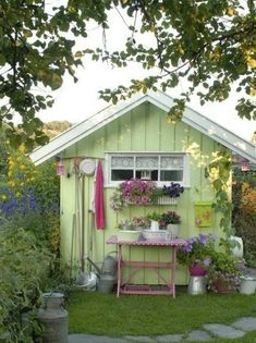 In Need Of Shed Color Ideas? A beautiful shabby chic garden shed in bright colours using a vintage singer sewing machine. Cute Garden Pastel Shed - April 13 2019 at Shabby Chic Garden, Garden Cottage, Home And Garden, Smart Garden, Shabby Chic Yard Decor, Shabby Chic Greenhouse, Garden Pots, Garden Bark, Cut Garden