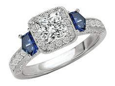 Princess Cut Diamond Halo Engagement Ring Blue Sapphire Shield Accents in 14K White Gold