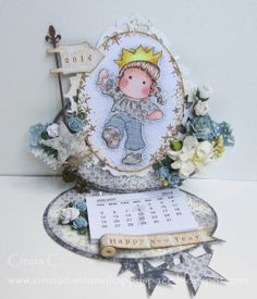 Into my happy space: King Tilda in paper piecing - DT card for Marvelous Magnolia