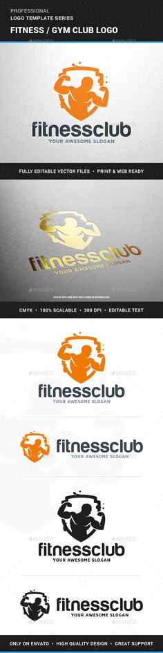The Fitness / Gym Club Logo Template A powerful logo with a muscle man / bodybuilder inside of a shield. A great logo for gym and