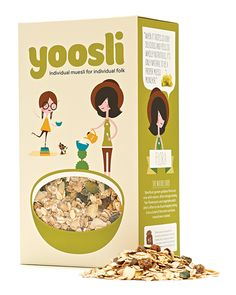 Branding and packaging for custom muesli brand Yoosli created by Together Design.