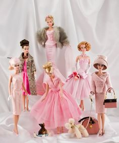 6 Barbie dolls...all dressed in vintage...all in pink fashion