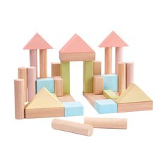 These classic Plan Toys wooden building blocks are an essential in any play room or nursery. This set contains 40 wooden blocks in 6 different shapes, and combine soft pastel colours with natural wood to complement a range of montessori toys.