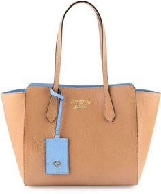 Gucci Swing Small Tote Bag, Beige/Blue