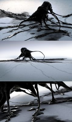"this is the visual sequence idea. I'm not sure what is it.This looks like  something""slime"" it is a bit disgusting. black liquid from its branches enlarge look we get the details of the theory, it is sticky also could be moved. Graphic sequence design only using  black and white to present it is really  cool."