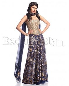 Prussian Blue Sequined Unstitched Lengha Set - Exclusively In