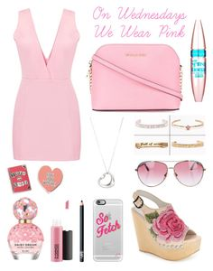 """On Wednesdays We Wear Pink"" by kirsty-mckenzie44 ❤ liked on Polyvore featuring Marc Jacobs, MAC Cosmetics, NARS Cosmetics, Casetify, Punky Pins, Jeffrey Campbell, MICHAEL Michael Kors, Maybelline, Tiffany & Co. and Stella & Bow"