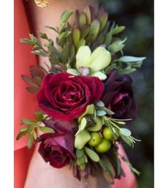 Red Sweetheart Roses, Hypericum Berry, and Green Orchid Wristlet ...