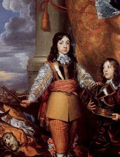 30. William Dobson. Carlos II príncipe de Gales. Tras la columna se ve una batalla, en alusión a la guerra civil que había asolado la isla, y delante de las máscaras de la envidia y de la guerra, además otros símbolos militares.