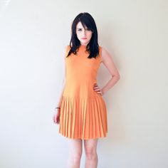 vintage 60s dress / 1960s mod dress / mustard yellow  by RockAndRollVintage, $72.00