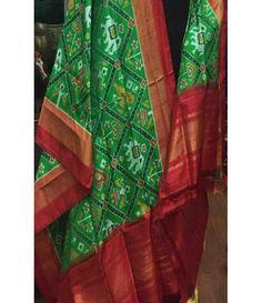 Green Pure Handloom Double Ikkat Patola Silk Dupatta